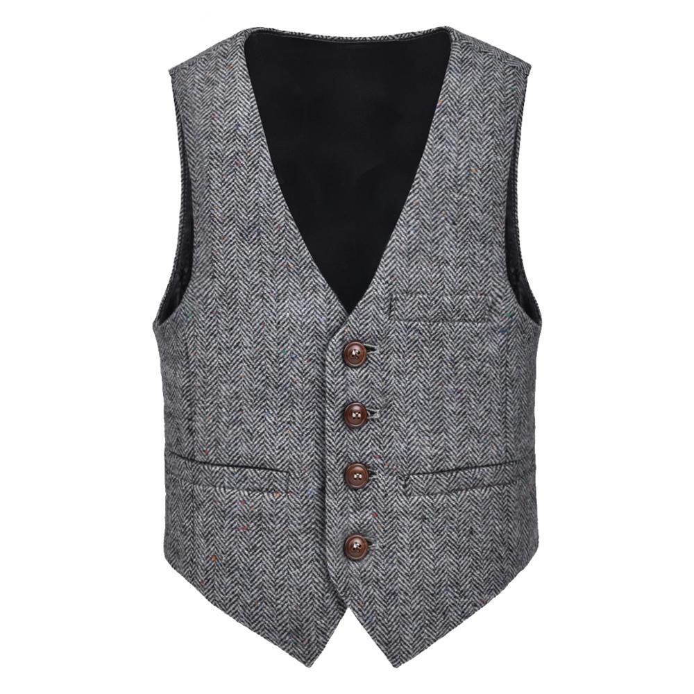 JANGOUL Vests Waistcoat Pockets-Buttons Herringbone Toddler V-Collar Tweed Child Woolen