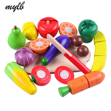 mylb Wooden Cutting Vegetables and Fruits Educational Simulation Food Pretend Play Set Baby Kitchen Toys for Preschool Children(China)