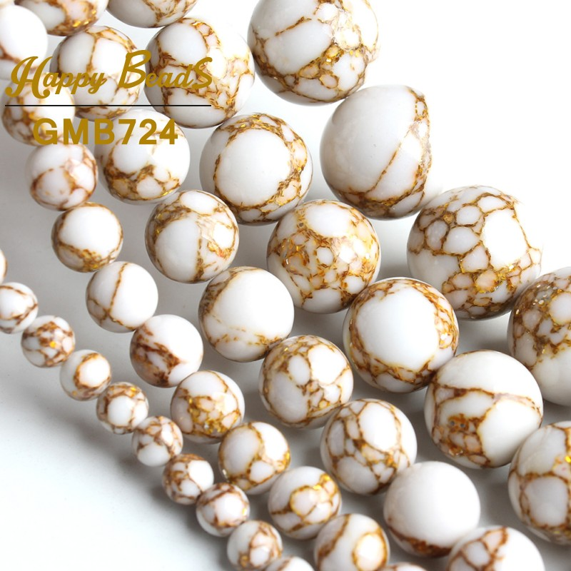 White Gold Line Howlite Stone Beads Round Loose Spacer Beads 15'' 4/6/8/10/12mm Natural Stone For Jewelry Making DIY Bracelets
