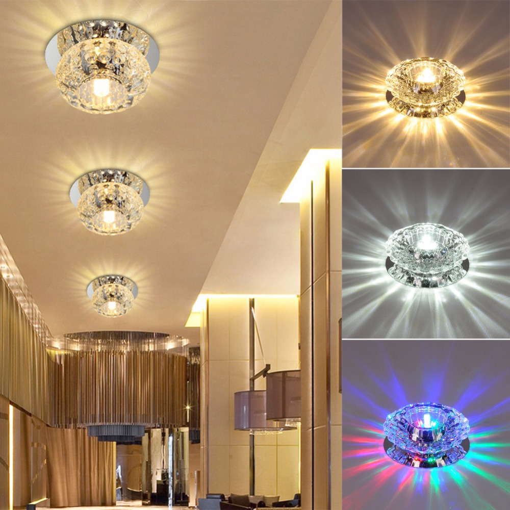 1x 3W/5W Crystal LED Fixture Pendant Lamp Lighting Chandelier  90-100LM/W