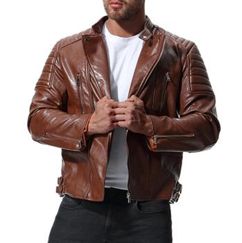 Lapel mens leather jacket slim motorcycle leather coat men jackets clothes personalized jaqueta de couro street fashion brown