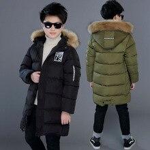 Abrigo grueso de invierno a prueba de viento para niños, abrigo impermeable para niños, prendas de vestir exteriores, relleno de algodón, chaquetas de peso pesado para niños de 4 a 14 años