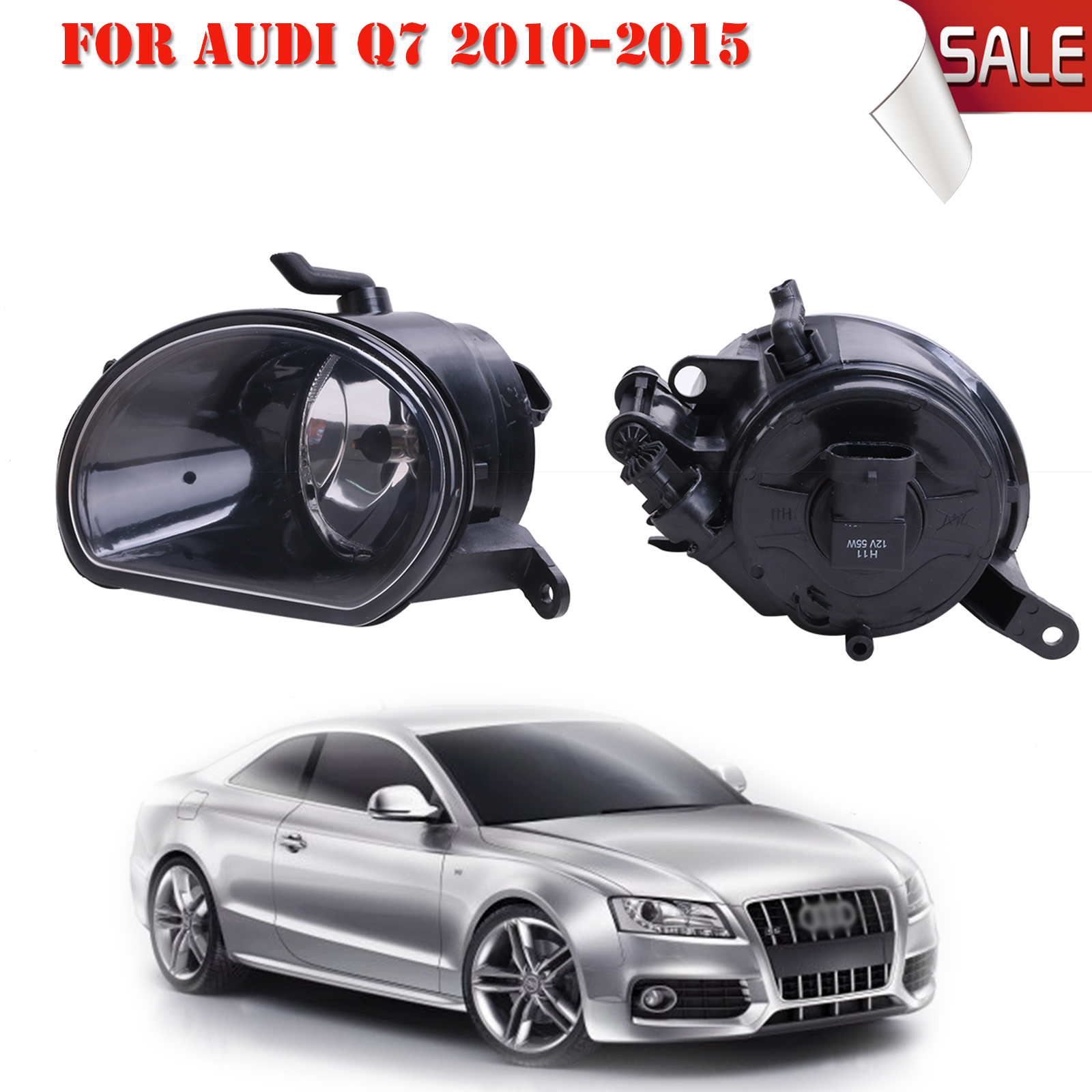 Front Fog Light Fog Lamp with H11 Bulbs For Audi Q7 2010 2011 2012 2013 2014 2015 Car-Styling #P316 front fog lights for nissan altima 2008 2010 2011 2012 2013 2014 2015 auto bumper lamp h11 halogen car styling light bulb