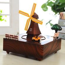 Free shipping Windmill music box Rotating windmill Desktop Decoration Couple birthday gift CR-LY2023