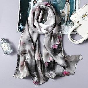 Image 5 - DANKEYISI Delle Donne di Seta Lunga Sciarpa Scialle Femminile Delle Donne di Alta Qualità 100% Pura Seta Sciarpe Wraps Lady Foulard Hijab Sciarpe