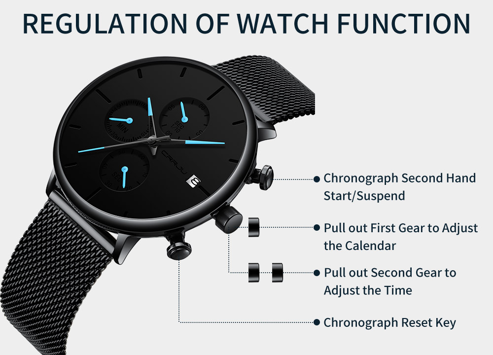 StopWatch Unique Design Luxury Sport Wrist Watch Stainless Steel Mesh Strap Men's Fashion Casual Date Watches