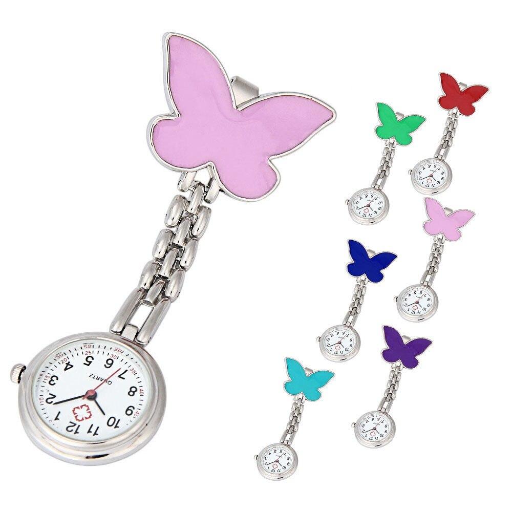 Nurse Clip-on Fob Brooch Pendant Hanging Butterfly Watch Pocket Watch New Fashion Ladies Beautiful Clock Girl Luxury Elegant A60