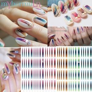 Image 1 - 1 Pcs 3D Nail Stickers Gradient Gestreepte Lijnen Tape Multi Size Zelfklevende Nail Decoratie Sticker Diy Manicure nail Decals 2019