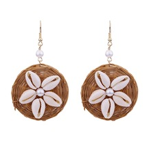Fashion Handmade Cane Grass Bamboo Hand-woven Round earrings Conch Shell Rattan Ear Hook Earring