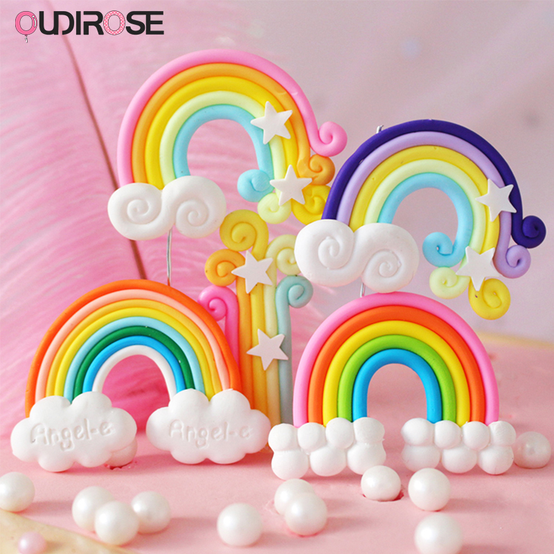 Hot Balloon 3D Rainbow Clouds Cake Toppers Happy Birthday Cake Top Flags Cake Decorations For Boy/Girl Birthday Wedding Supplies
