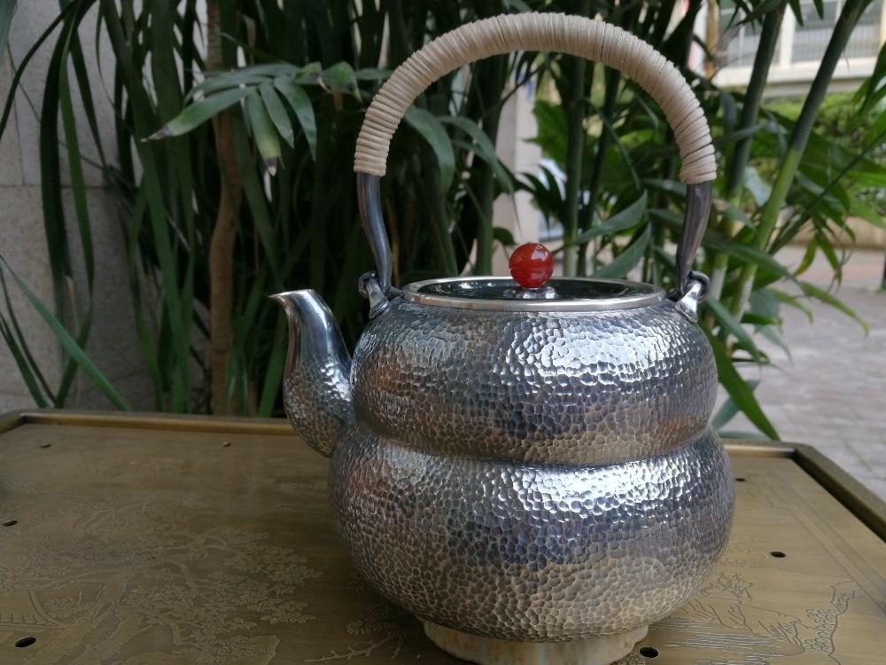 Ramollir l'eau argent Sterling 1300G gourde bouilloire 1.8L manuel sifflement eau sud rubis bouilloires avec boîte-cadeau