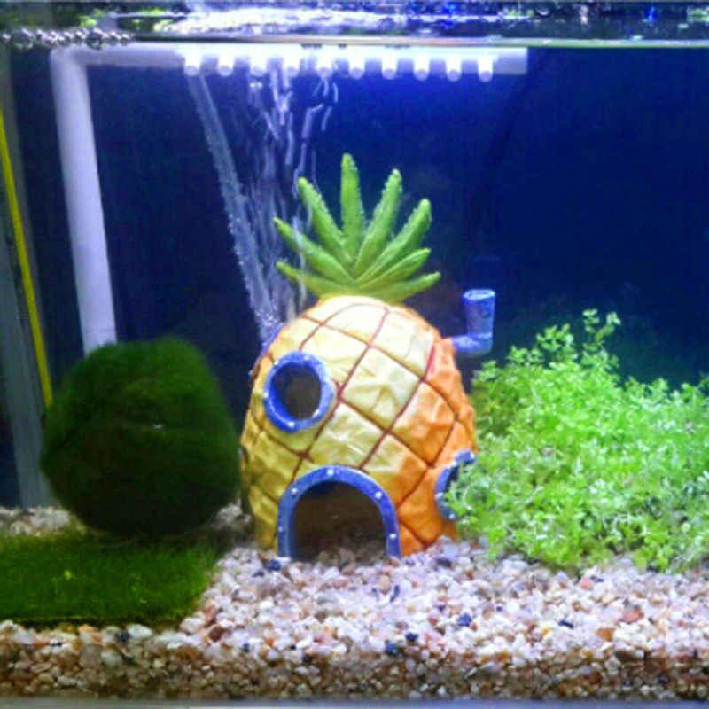 Resin Aquarium Spongebob Decoration Pineapple House Fish Tank Landscaping Cartoon Ornaments Shelter Cave For Small Fish