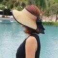 2017 классическая Мода большой соломенной шляпе женщин пустой верхний шлем солнца отдых открытый Анти-Уф козырек вводная femme девушки foldabl