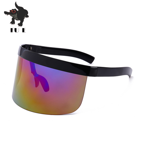 FU E Sexy Oversized Shield Visor Sunglasses Women Brand Designer Big Frame Mirror SunGlasses Shades Men Windproof Eyewear UV400 Karachi