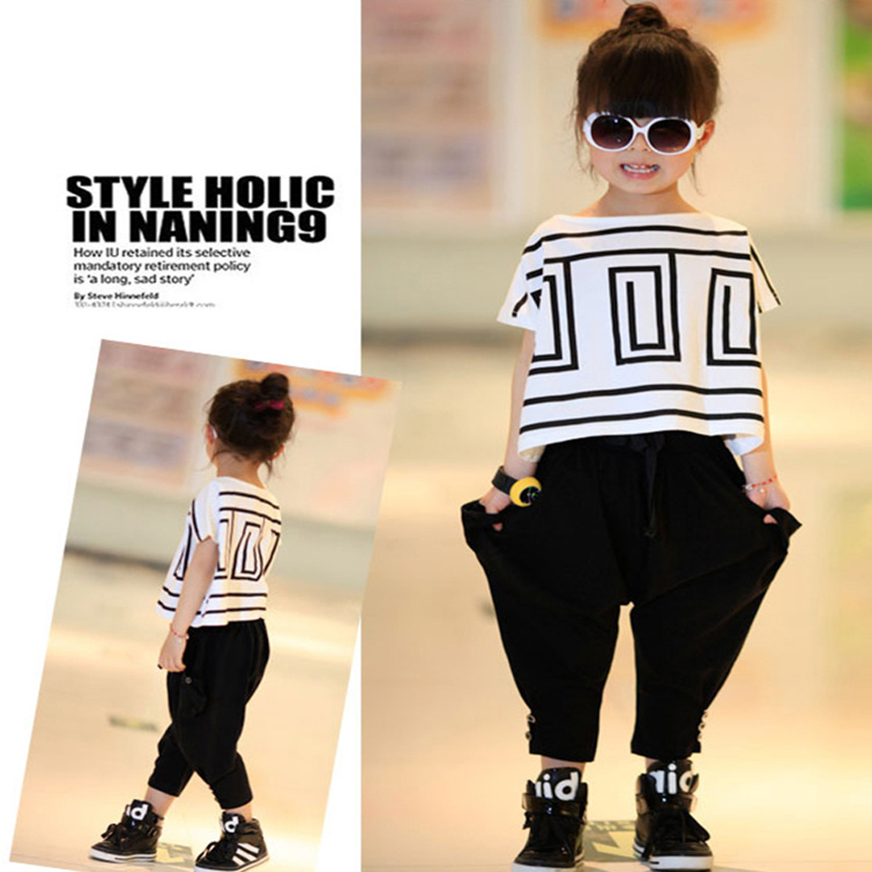 2018 New Baby Girls Clothes Spring Children Clothing Sets Geometric Costumes Kids Clothes For Girls Sports Suits Shorts+Pants