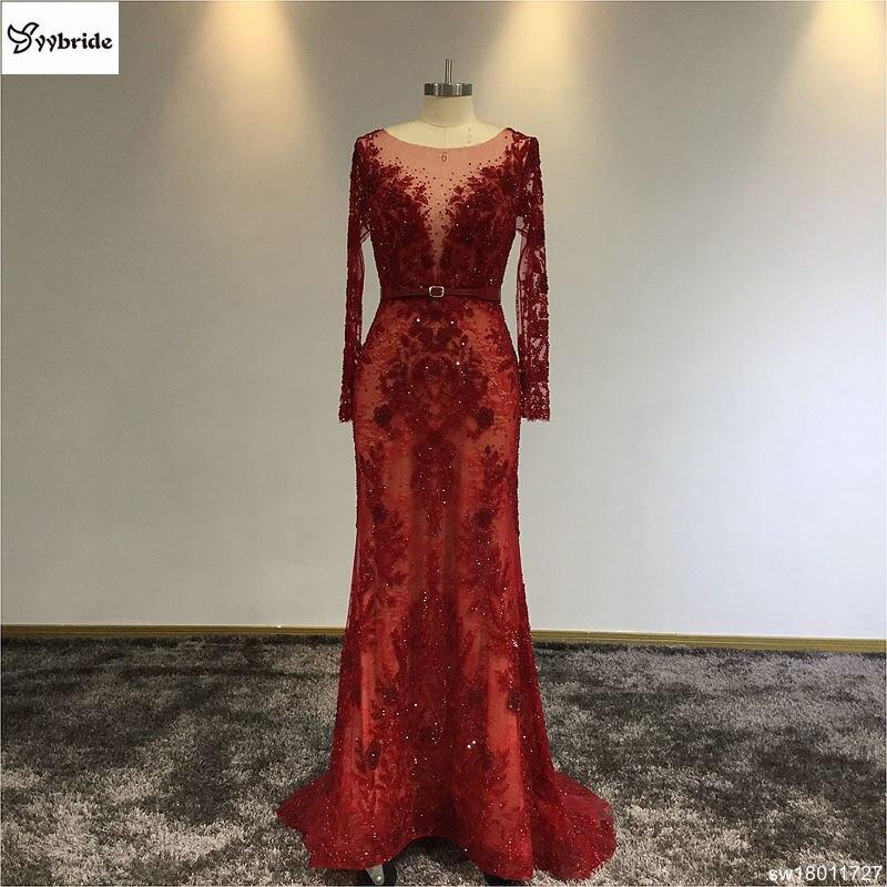 Surmount luxe bateau-cou manches complètes vin rouge dentelle robe de soirée à la main couture cristaux fleur sur tissu parole-longueur robes
