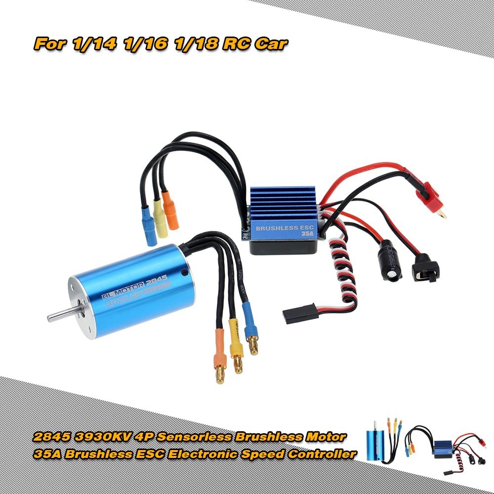 2845 3100KV/3930KV 4P Sensorless Brushless Motor & 35A Brushless ESC Electronic Speed Controller for 1/14 1/16 1/18 RC Car