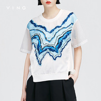 VING Blouses 2016 Summer Wommen Short Sleeve Printed Chiffon Patchwork Loose T Shirt