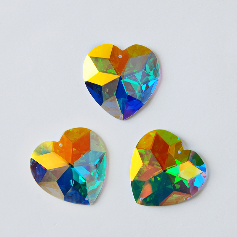 2202TH 40mm Crystal AB Heart Sew On Rhinestones Glass Sew On Stones Flatback Sewing Stones For Women Dress Decoration
