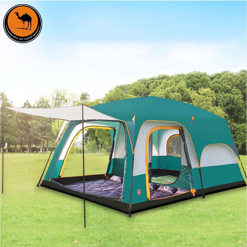 6 8 10 12 people double layer outdoor 2living rooms and 1hall family camping tent in top quality large space tent high quality professional camping tent suitable for 2 3persons double layer anti big rain 1hall 1room outdoor family tent
