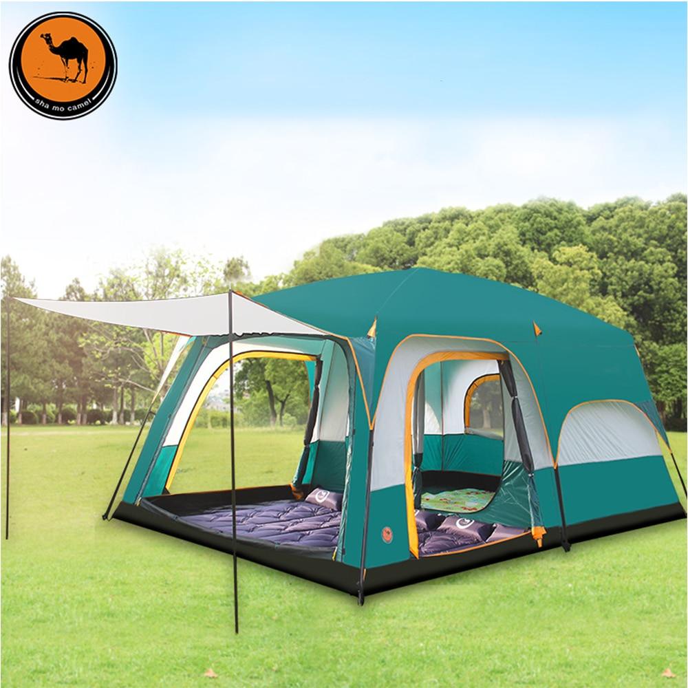6 8 10 12 personnes double couche en plein air 2 salons et 1 hall famille camping tente en grande qualité espace tente