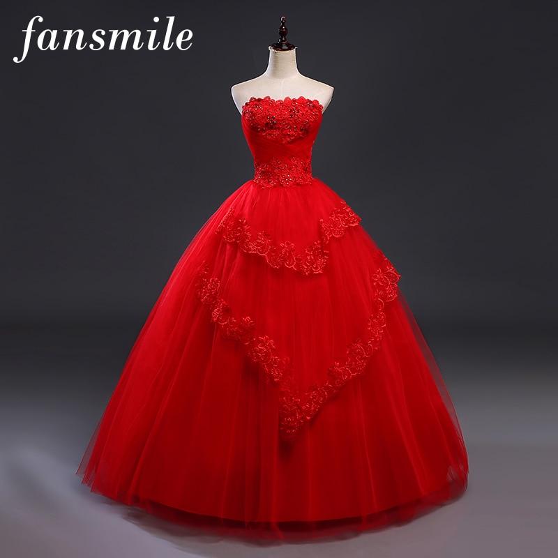 Fansmile Cheap Red VintageLace Up Wedding Dresses Vestidos de Novia 2019 Plus Size Bridal Gowns Under