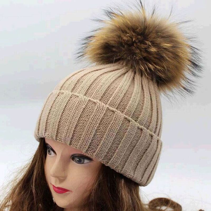 199d10cb1b7 Free shipping 2015 new 100% raccoon fur Autumn and winter large 18cm ball  Knitting wool cap Keep warm pointy hat woman