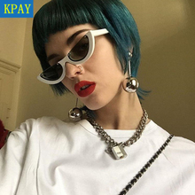 KPAY 2019 Cool Semi Rimless Narrow Frame Lady Cat Eye Sunglasses Women Personality Fashion Sun Glasses Female Colorful UV400 цена в Москве и Питере