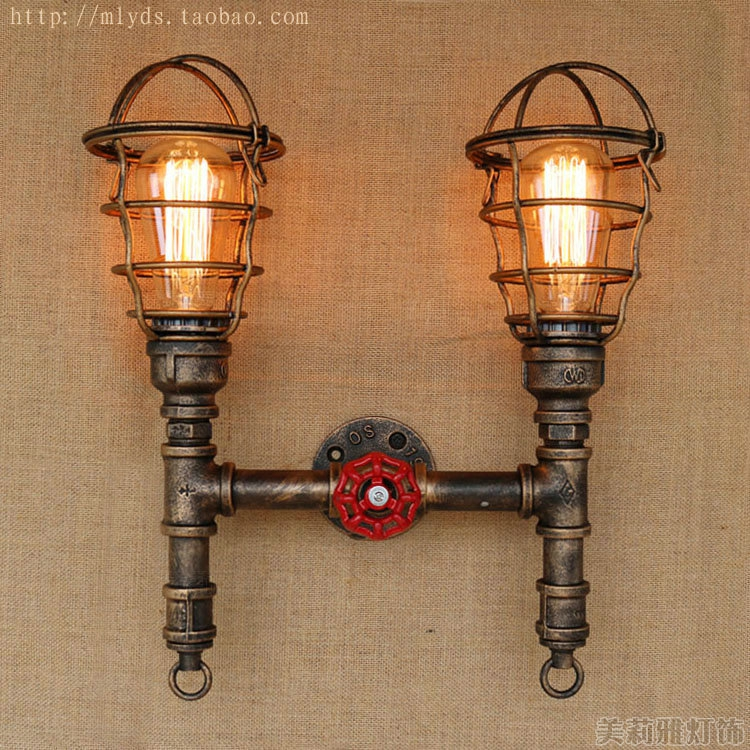 Antique Edison Water Pipe Wall Lamp Vintage In  Loft Style Industrial Wall Light With 2 Lights Fixtures Wall Sconce Apliques mordern nordic retro edison bulb light chandelier vintage loft antique adjustable diy e27 art spider ceiling lamp fixture lights