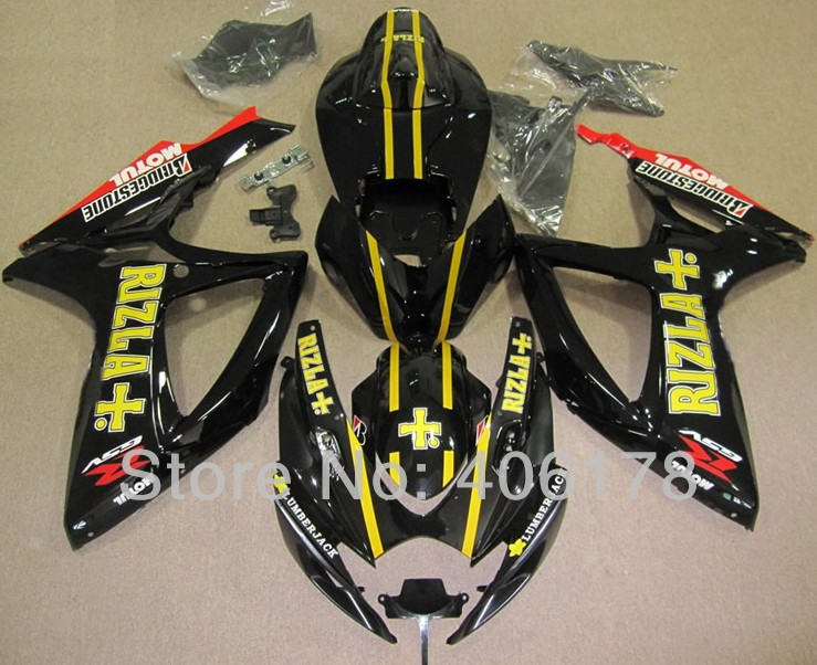 Hot Sales,K6 2006 2007 gsxr 600 750 fairing For Suzuki 06-07 Black Rizla Aftermarket Motorcycle Fairings (Injection molding) hot sales for bmw k1200s parts 2005 2006 2007 2008 k1200 s 05 06 07 08 k 1200s yellow bodyworks aftermarket motorcycle fairing