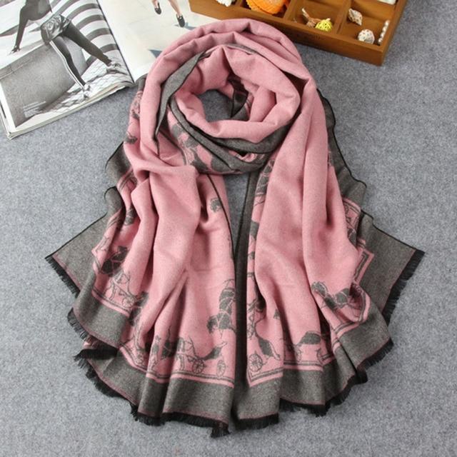 Europe Fashion Cashmere Women Scarves Novelty Pattern Thermal Shawl Longer Thicker Winter Women Neckerchiief