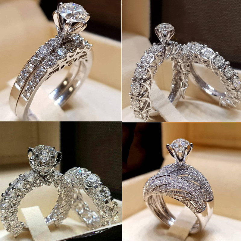 FT-Ring Art Deco Jewelry White Zircon Jewelry Silver Color Ring For Women Party Wedding Rings