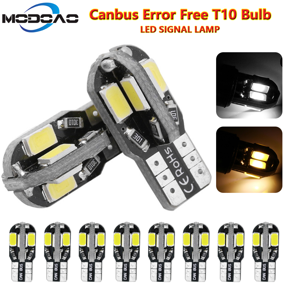 Pack Of 10,T10 Led Car Interior Bulb Canbus T10 White 5730 8SMD LED 12V Car Side Wedge Light White Lamp Bulb Car Styling