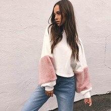Plush sleeves loose sweater Women Sweatshirt Patchwork Cashmere Hoodies Lantern Sleeve Pullovers Tops Blouse sweater Yoga shirt#