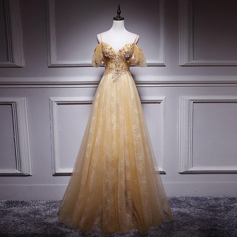 New Arrival   Evening   Gown Backless Appliques Sequined Aline Tulle Long   Evening     Dress   Party Elegant Vestido De Fest Prom Gowns
