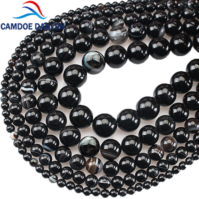 """Handmade 8//10//12mm Natural Blue Stripe Agate Onyx Round beads Necklace 18/"""""""
