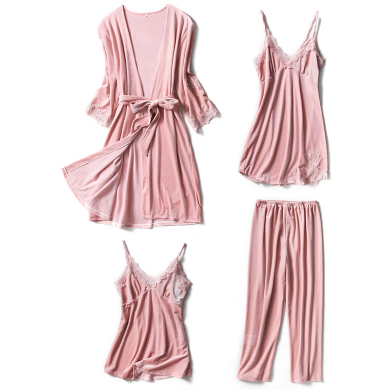 4 Pieces Velvet Pajama Sets Pink Sexy Top + Pants + Night Gowns + Robe Set Sleepwear Bath Robe Pyjamas Women Clothing Winter