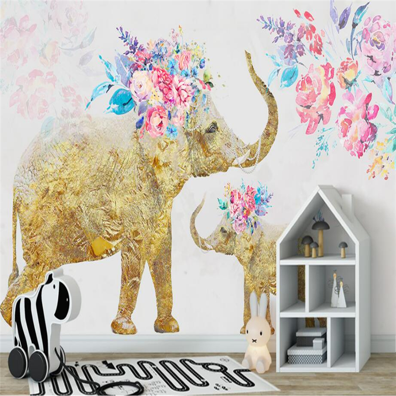 Custom Gold Wallpaper Hand Painted Elephant Photo Wall Mural TV Background Kitchen Study Bedroom Living Room 3d Wall Murals shinehome black white cartoon car frames photo wallpaper 3d for kids room roll livingroom background murals rolls wall paper