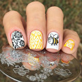New 1 Pc BORN PRETTY Round 5.5cm Nail Art Stamp Template Arabesque Honeybee Design Image Nail Stamping Plate BP-100