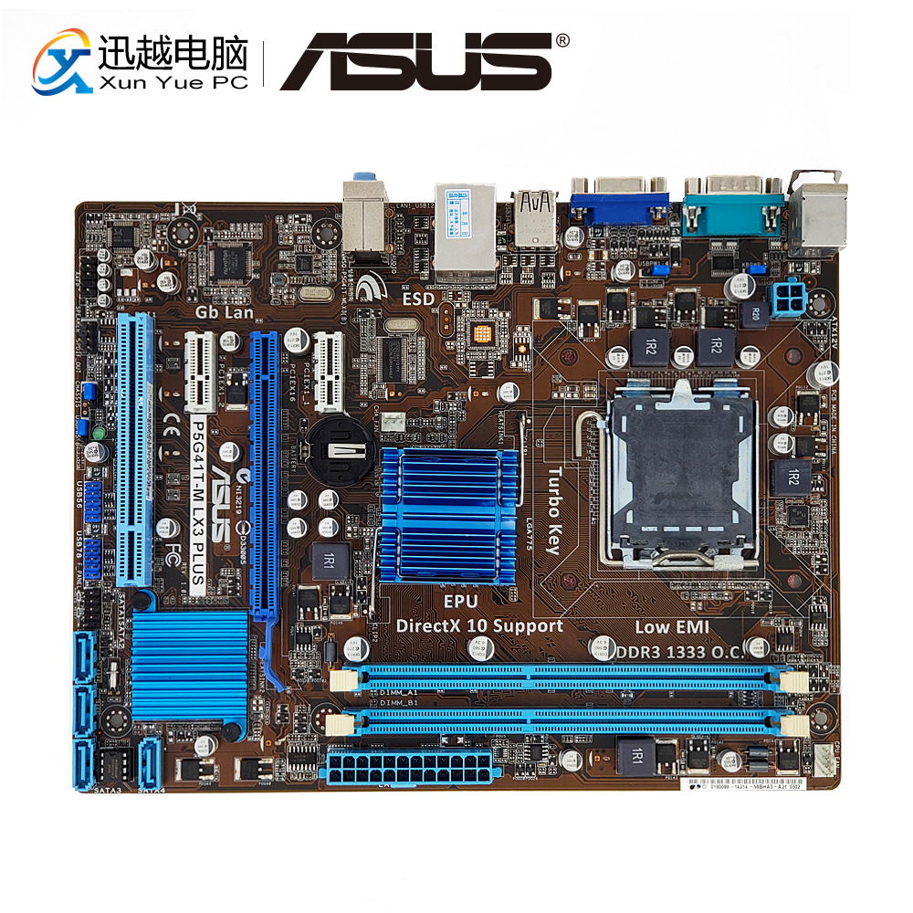 Asus P5G41T-M LX3 Plus Desktop Motherboard G41 Socket LGA 775 DDR3 8G SATA2 USB2.0 VGA uATX used for asus p5g41t m lx v2 original desktop motherboard g41 socket lga 775 ddr3 8g sata2 usb2 0