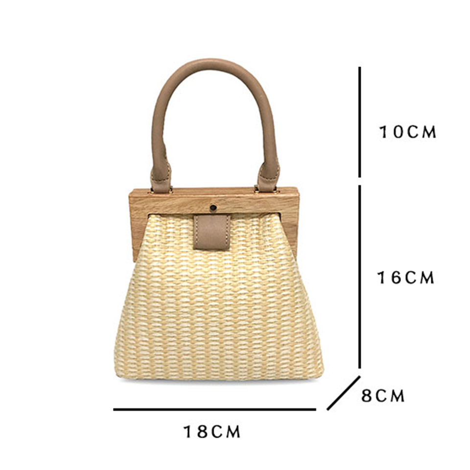 Oswego Straw Bag 2019 New Fashion Wooden Clip Women Shoulder Bag Summer Travel Beach Bag Luxury Handbags Women Bags Designer 4