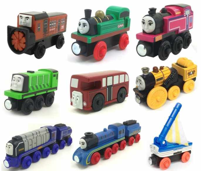 Wooden Toy Trains Locomotive Compatible with Brio Train Set Magnetic Connector Model Car Toys for Children