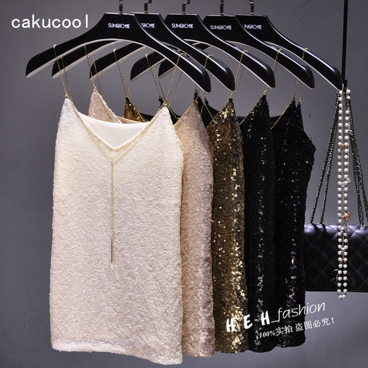 Cakucool Summer Sequined Tank Top Shiny Vest Gold Chain V neck Embellish Slim Sleeveless   Blouse     Shirt   Sexy Basic Tanks Tops Lady