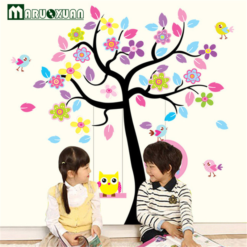 Maruoxuan New Owl Bird Swing Wall Stickers Tree For Kids Rooms Children Baby Nursery Rooms Home Decor Vinyl Mural Wallpaper