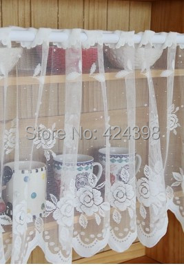 Morden Rustic Kitchen Coffee Curtain Lace Embroidered Short Cabinet Curtains  Window Sheer Curtain Tulle For Windows