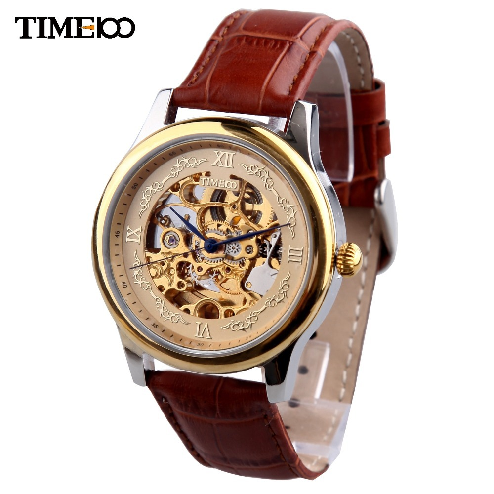 Time100 Luxury Men's Mechanical Automatic Self-wind Skeleton Watch Brown Leather Strap Business Casual Wrist Watches For Men  цена