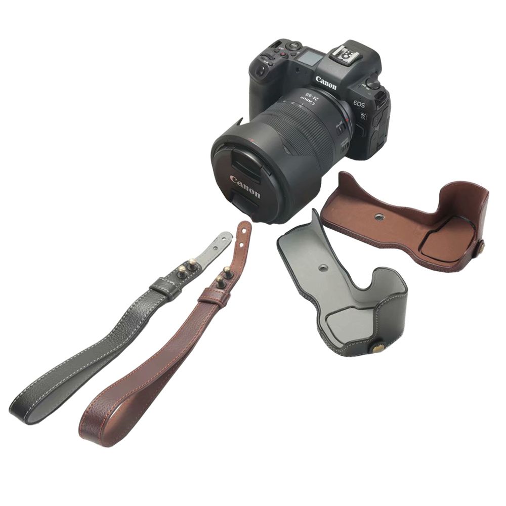 Handmade Genuine Real Leather Half Camera Case Bag Cover for Canon EOS 5D Mark IV 5D4 Coffee Color