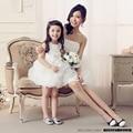 2016 Doce vestido de princesa flor crianças dança desempenho TongPengPeng mãe e filha vestido da festa de aniversário