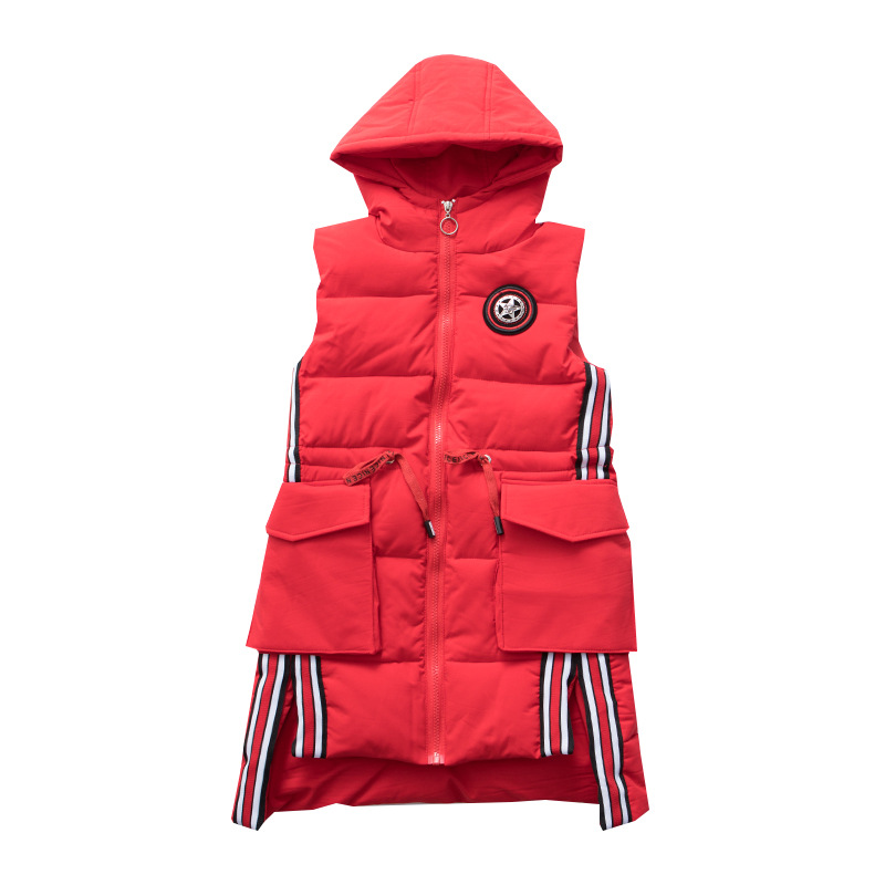 Long Warm Vest Teenage Big Girls Winter Thick Vest Tops Waistcoats Solid Hooded Coats and Jackets stimage жилет long vest
