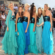 2016 Blue Bridesmaid Dresses Strapless Long Sequin Dress Maid of Honor Robe Demoiselle Honneur Summer Beach Skirt Wedding Party